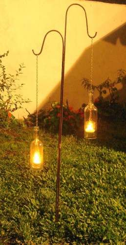 Decoracion faroles porta velas botella jardin noche aire libre pinterest patios ideas - Velas jardin ...