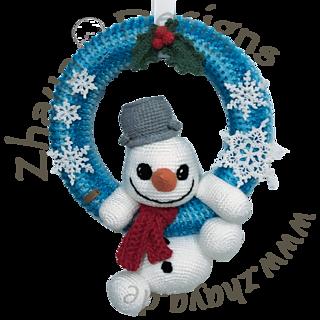 Snowman Wreath Free Crochet Pattern By Zhaya Designs Snowman Wreath Christmas Crochet Christmas Ornaments