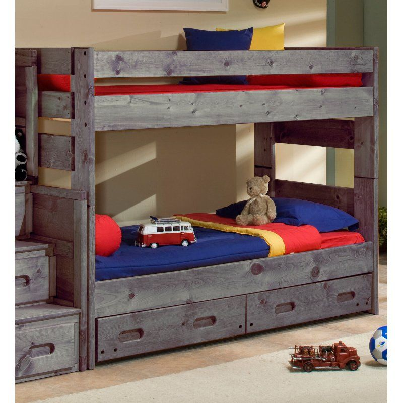Fort Driftwood Rustic Twin Over Twin Bunk Bed With Storage Drawers
