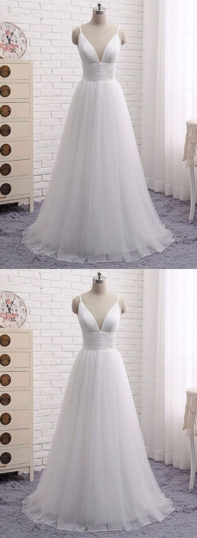 Simple white v neck long prom dress, white evening dress
