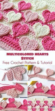 Mehrfarbiger Herzstich   #crochetstitchestutorial