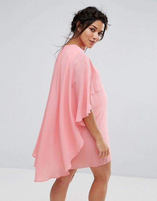 Queen Bee Maternity Shift Dress With Chiffon Waterfall Cape
