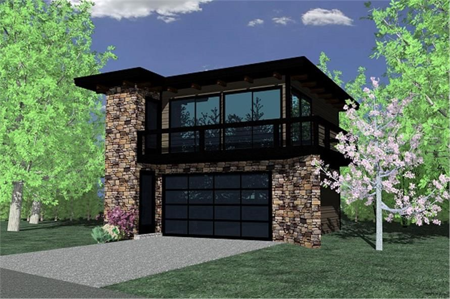 149 1838 apartment garage front rendering garages for Modern garage plans with loft