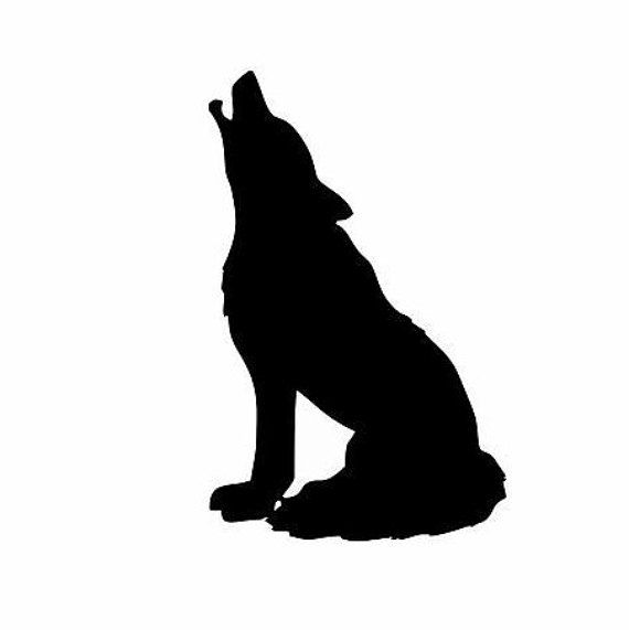 Wolf sitting. Decal indian decor american