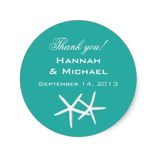 """Starfish Round """"Thank You"""" Reception Favor Labels Round Stickers"""