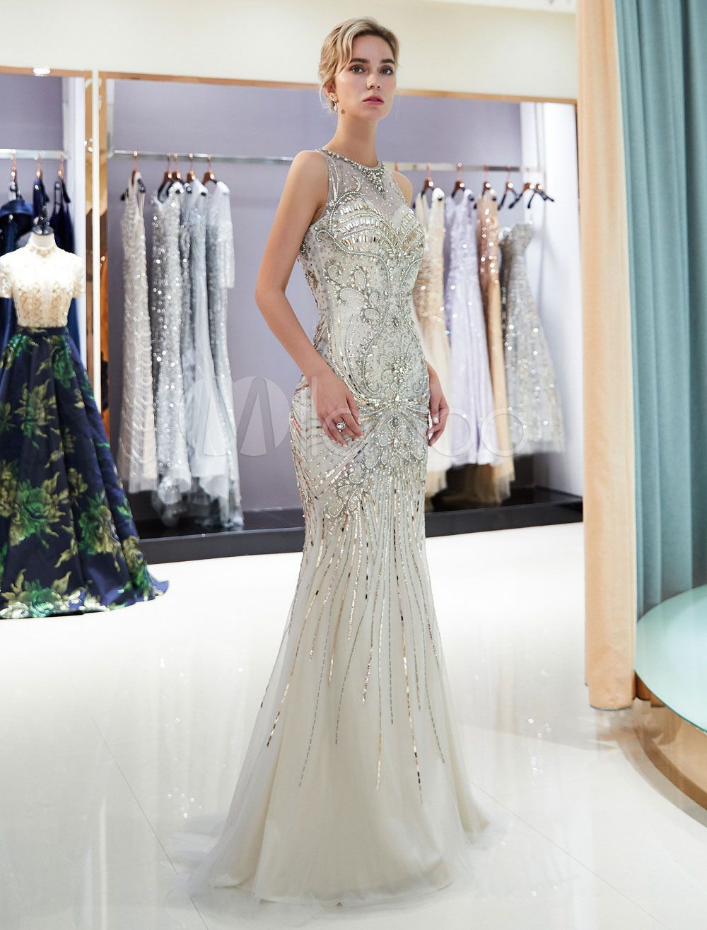 d15cf704d55 Mermaid Evening Dresses Light Gold Beaded Prom Dress Sleeveless Luxury  Formal Gowns With Train  Light