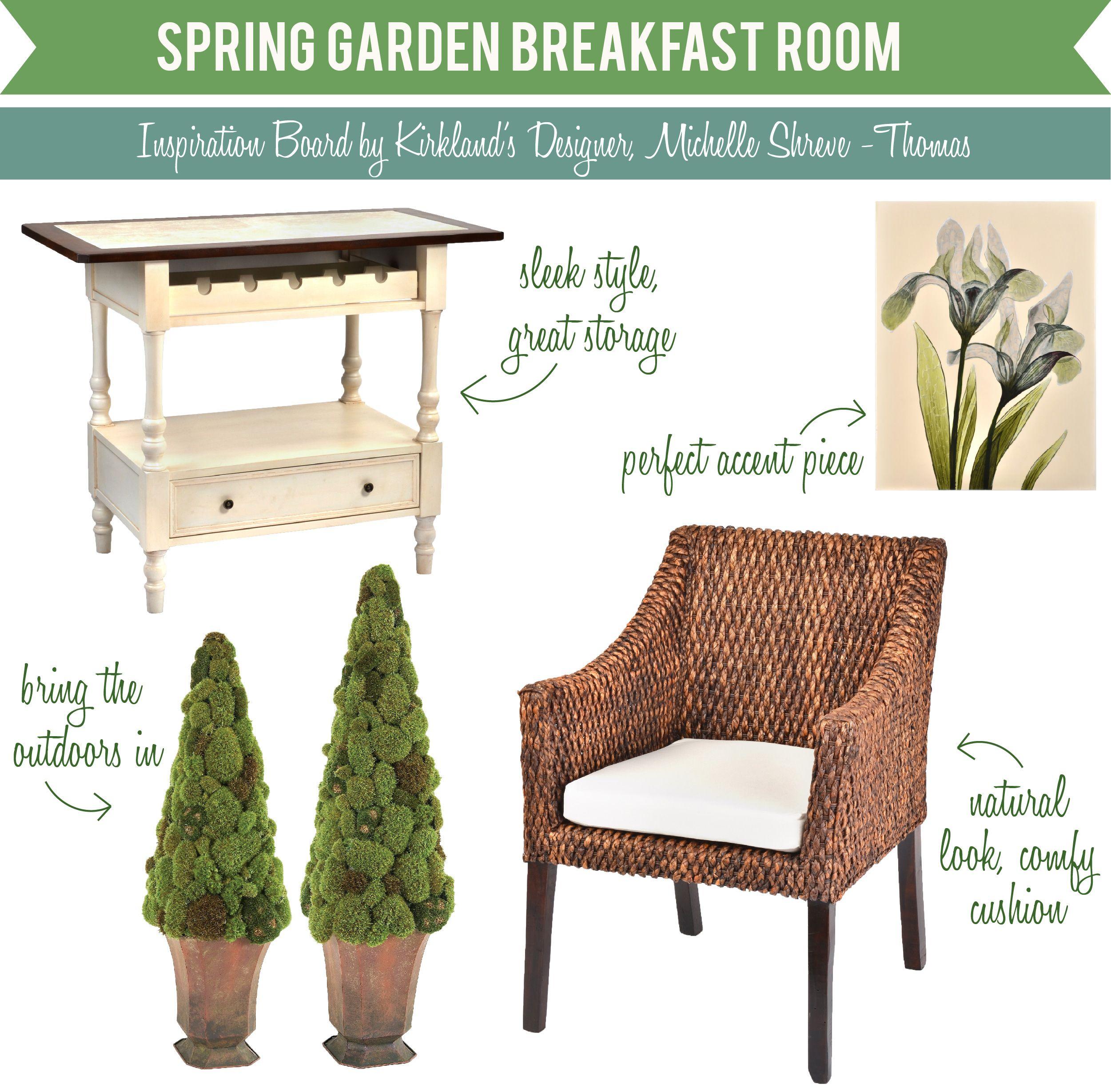 Spring Garden Breakfast Room Inspiration Board #MyKirklands  #kirklands #pinitpretty #pinitprettygiveaway