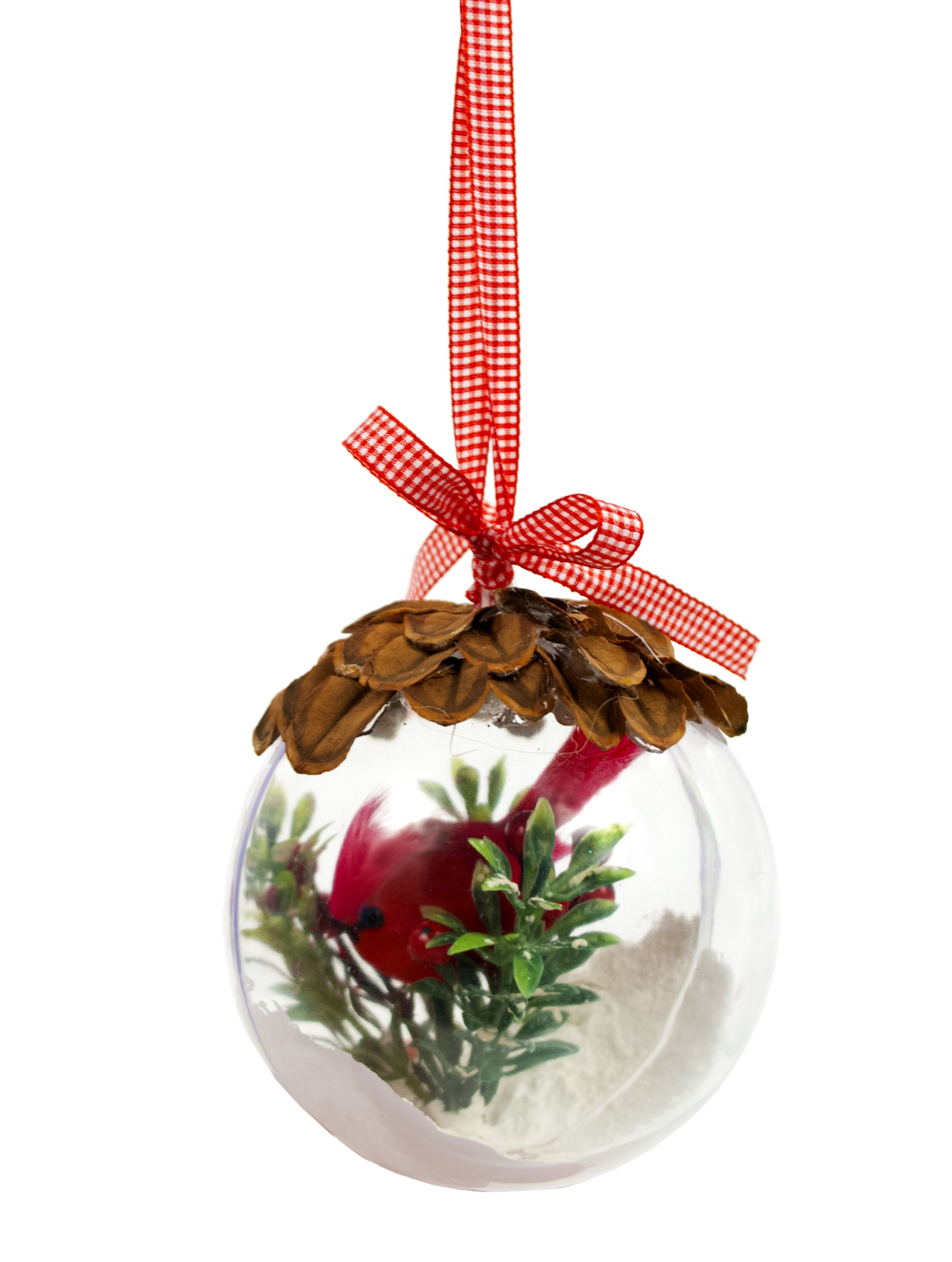 Nicole Crafts Pine Cone And Cardinal Ball Ornament #Ornaments #Craft