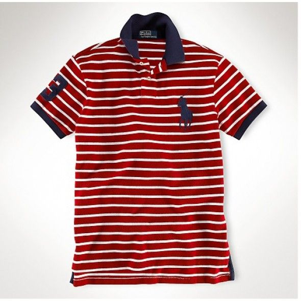 Men Purchase New Ralph Lauren Black Big Pony Classic Leisure Red Stripe Polo