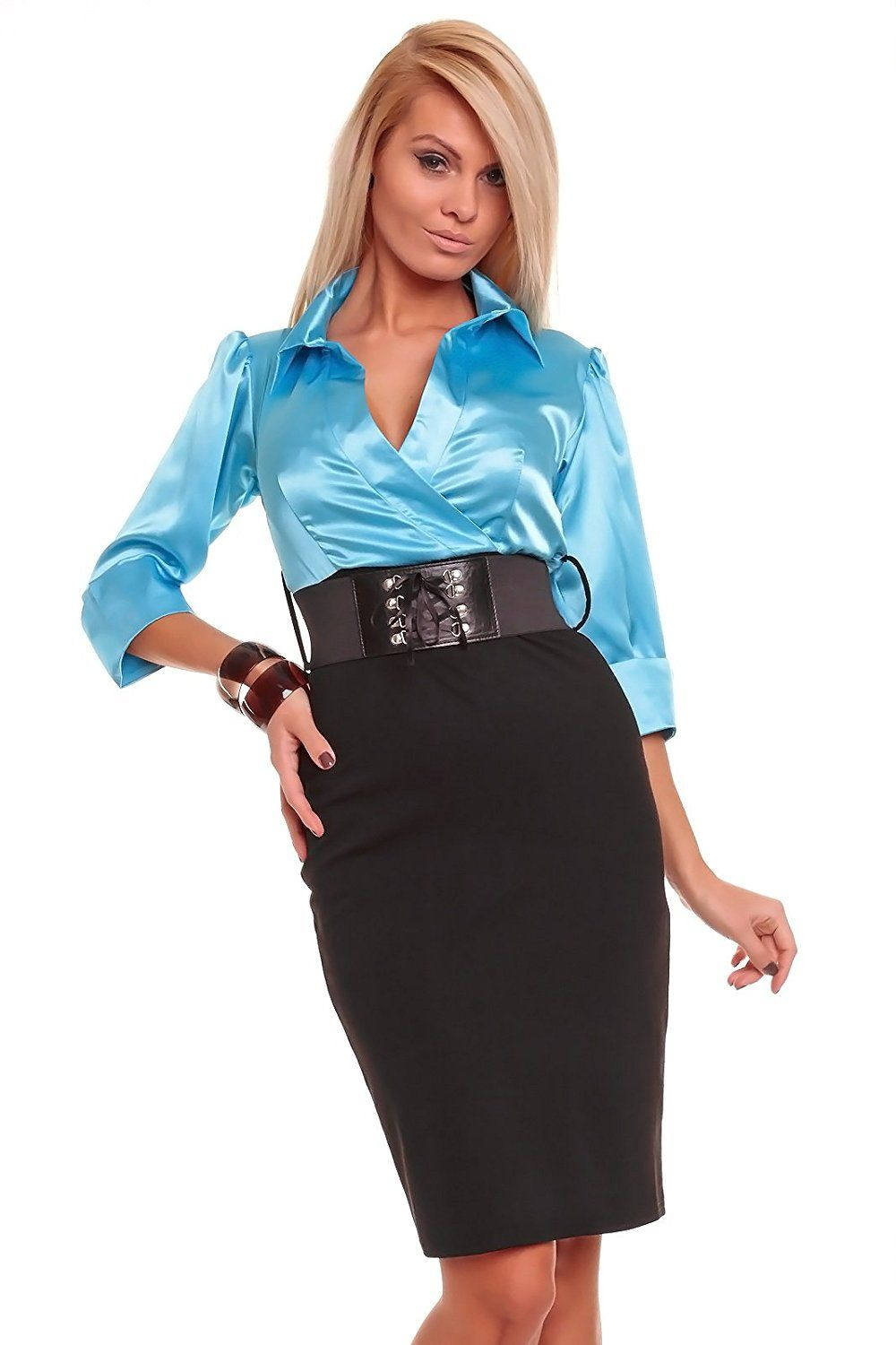 celebrity style blue black shirt dress with free belt mini evening ...