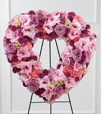 Pink Flower Standing Heart Wreath Antonio Flowers Miami Fl