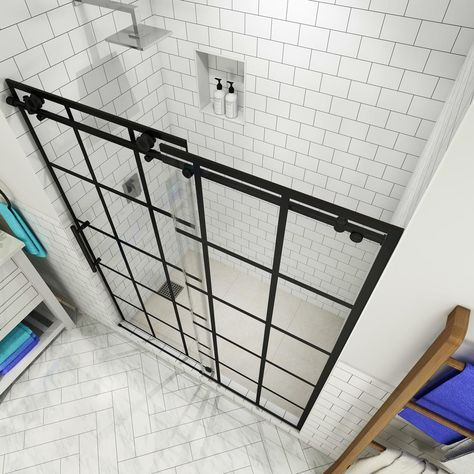 Aston Vienne 56 - 60 in. x 76 in. Completely Frameless Sliding French Shower Door in Matte Black, Left Opening-SDR984WFEZ-MB-60-10-L - The Home Depot