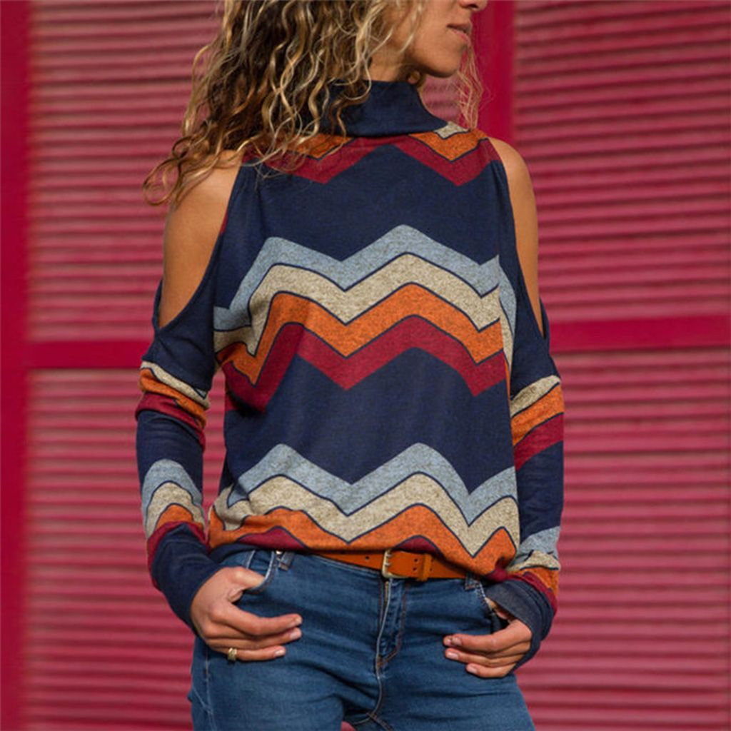 b334b0c0c1535 Check out my new Fashionable Cold-Shoulder Wavy Stripes Long-sleeve Top for  Women