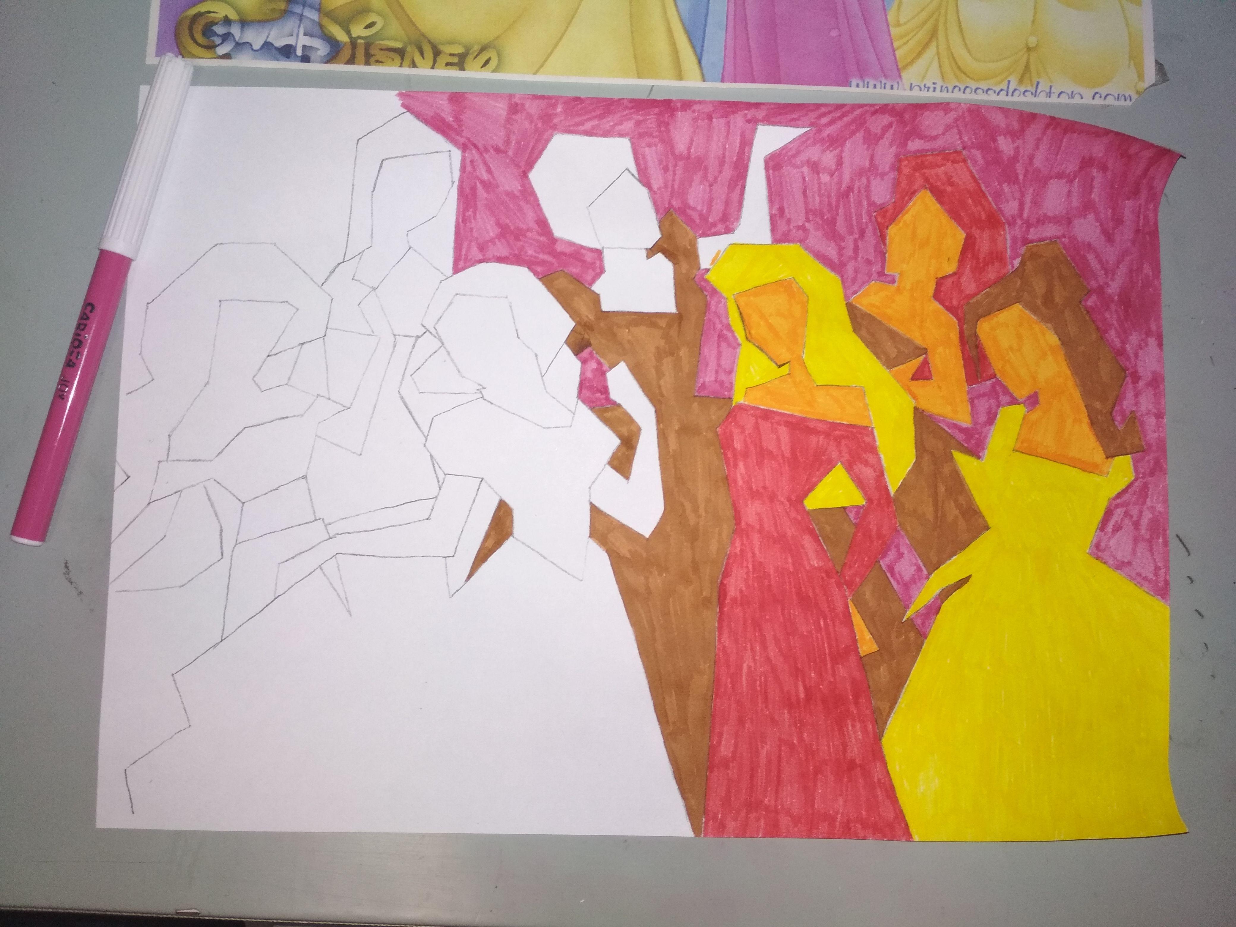 Proceso de coloreado en la abstracción, usando una gama cálida con ...