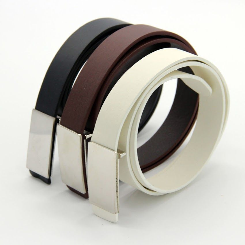 Men Leather Plated buckle Black White Metal Buckle Casual Dress Belt Waist Belt