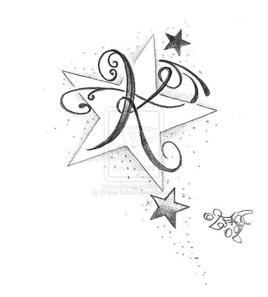 Butterfly star tattoo designs - New Letter Stars Tattoo Design By 2face Tattoo Deviantart Com On Deviantart