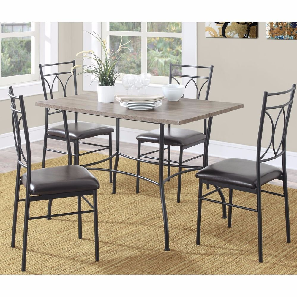 5 Piece Rustic Wood and Metal Dining Room Kitchen Set Comfy Padded Foam Seats #DorelLiving #CasualRusticTransitional