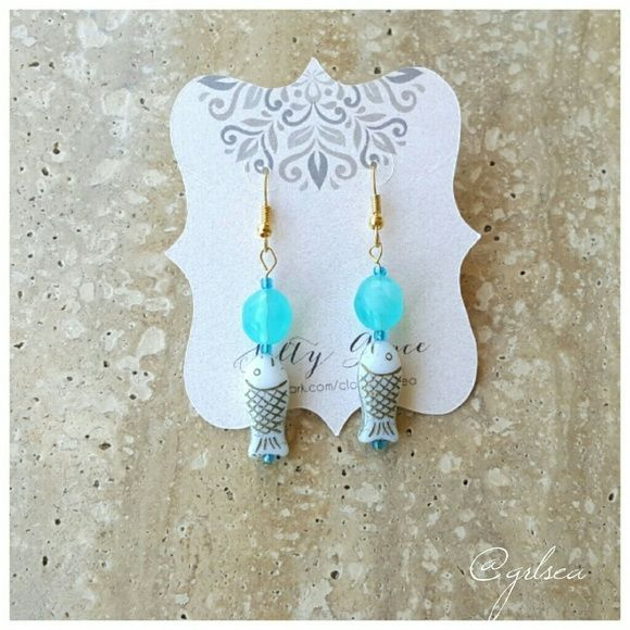 Teal and white fish earrings Handcrafted with premium quality beads, gold plated hooks. Consider bundling with another item for a discount. Salty Grace  Jewelry Earrings