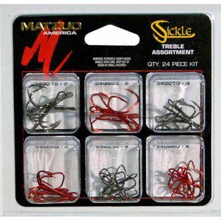Matzuo Sickle 24-Piece Treble Hook Assortment, Multicolor