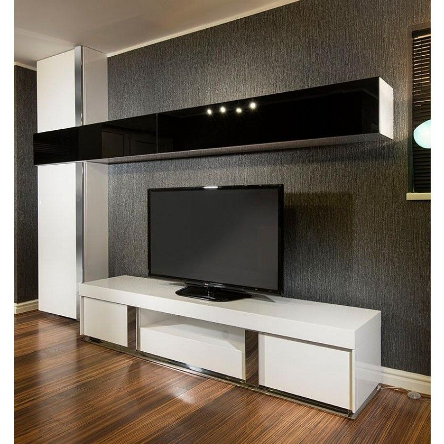 large tv stand plus wall mounted storage cabinet black. Black Bedroom Furniture Sets. Home Design Ideas