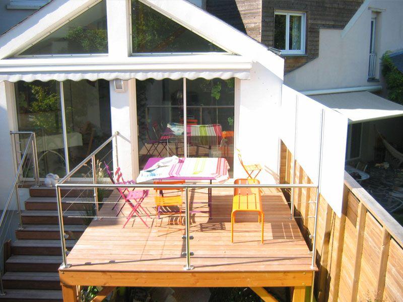 Prolongation de salon avec terrasse de plain pied en ipe et garde ...