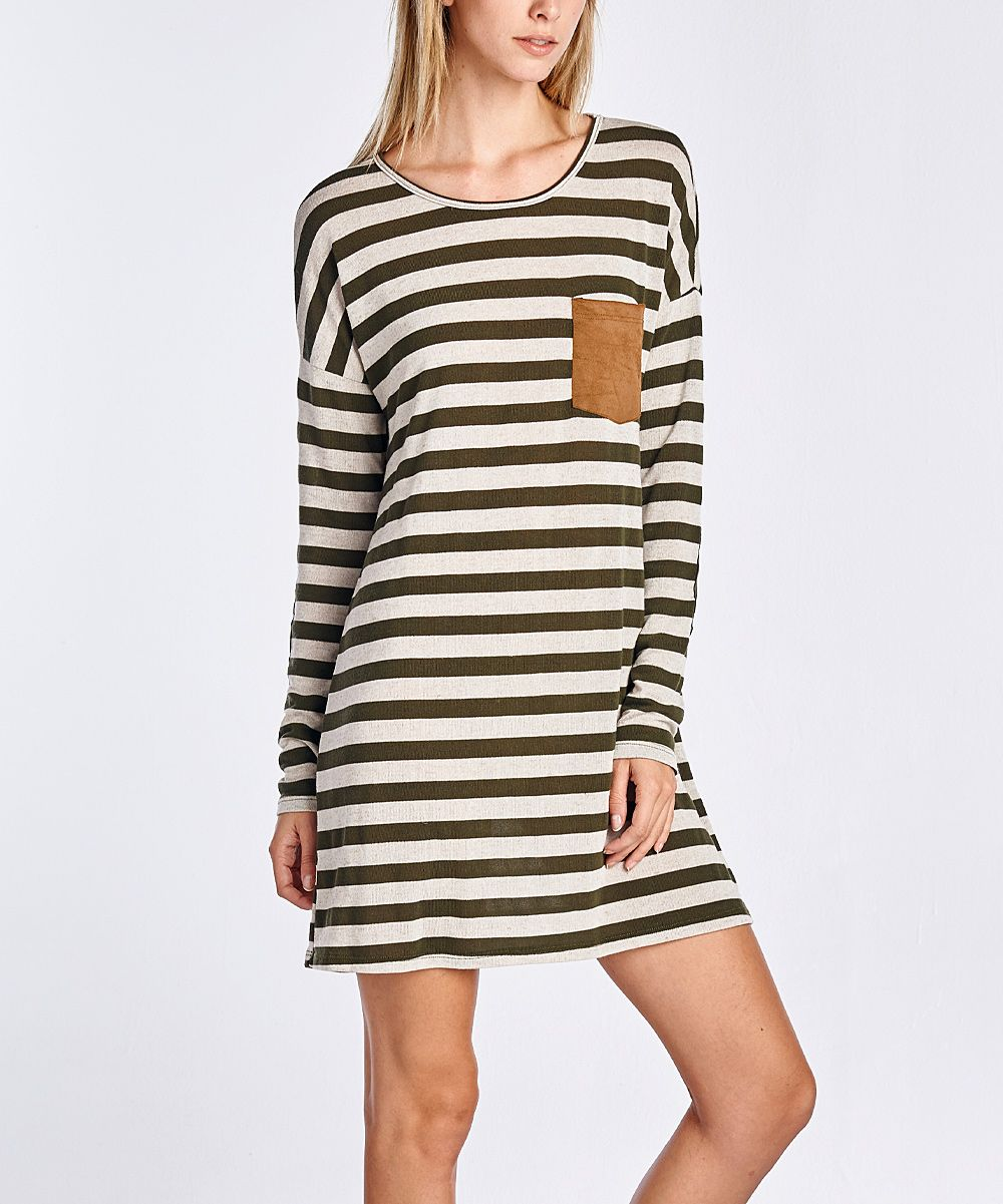 Olive Stripe Elbow Patch Shift Dress - Plus