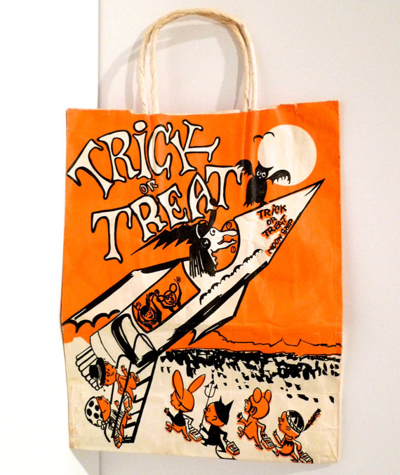 Halloween Trick Or Treat Bag Space Ship And Witch Candy Bag Equitable Brand New York Black Owl Devil Costume Rocket Vintage Free Usa Ship On Etsy