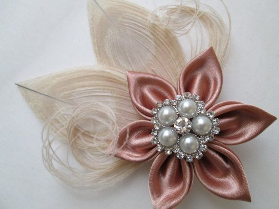 Rose Gold PEACOCK Wedding Hair Fascinator by GibsonGirlGarters ... f70cce0b871