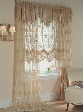 Lacey window treatments on pinterest lace window window - Jcpenney bathroom window curtains ...