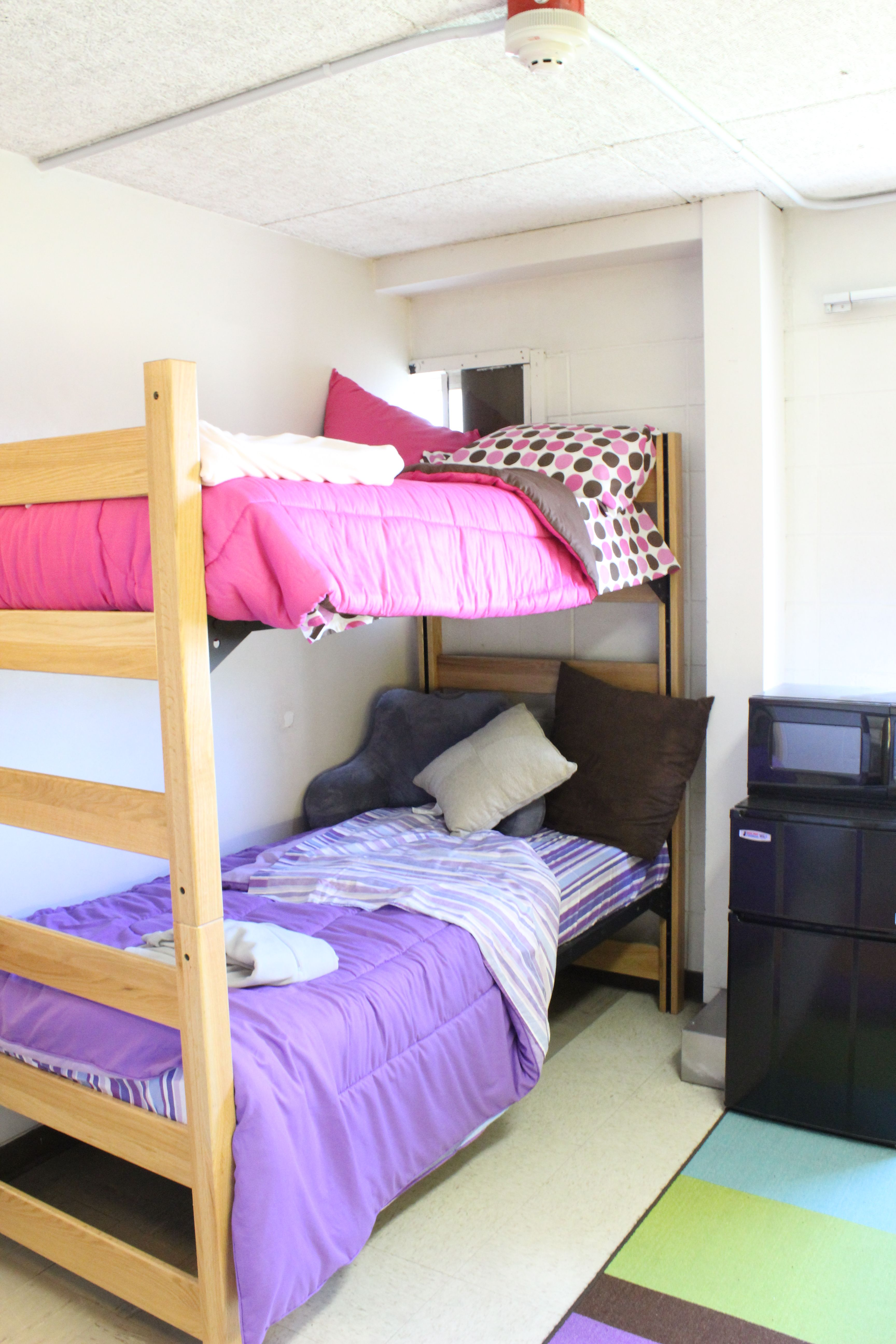 Loft bed with desk and dresser  Standard Double Room includes two beds bunkbed style with twin