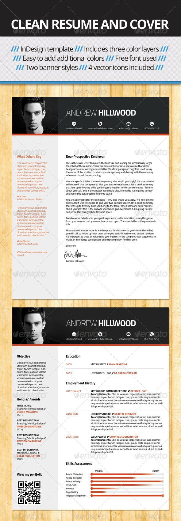 Crisp Clean Resume And Cover Template    Template Cover
