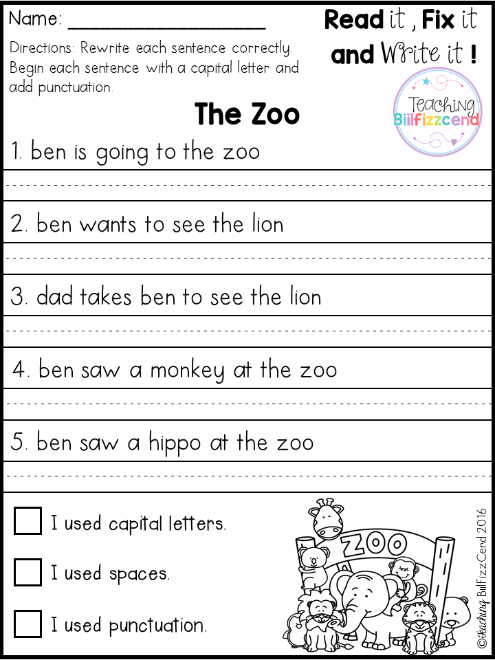 FREE Fix It Up Sentences | Kindergarten worksheets | Pinterest ...