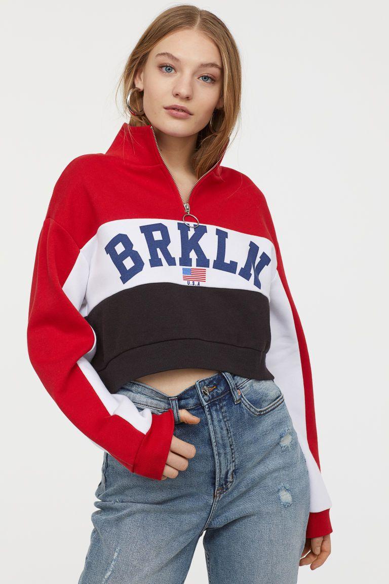 Stand Up Collar Sweatshirt Red Brkln Ladies H M Us Collared Sweatshirt Sweatshirts Trendy Sweatshirt [ 1152 x 768 Pixel ]
