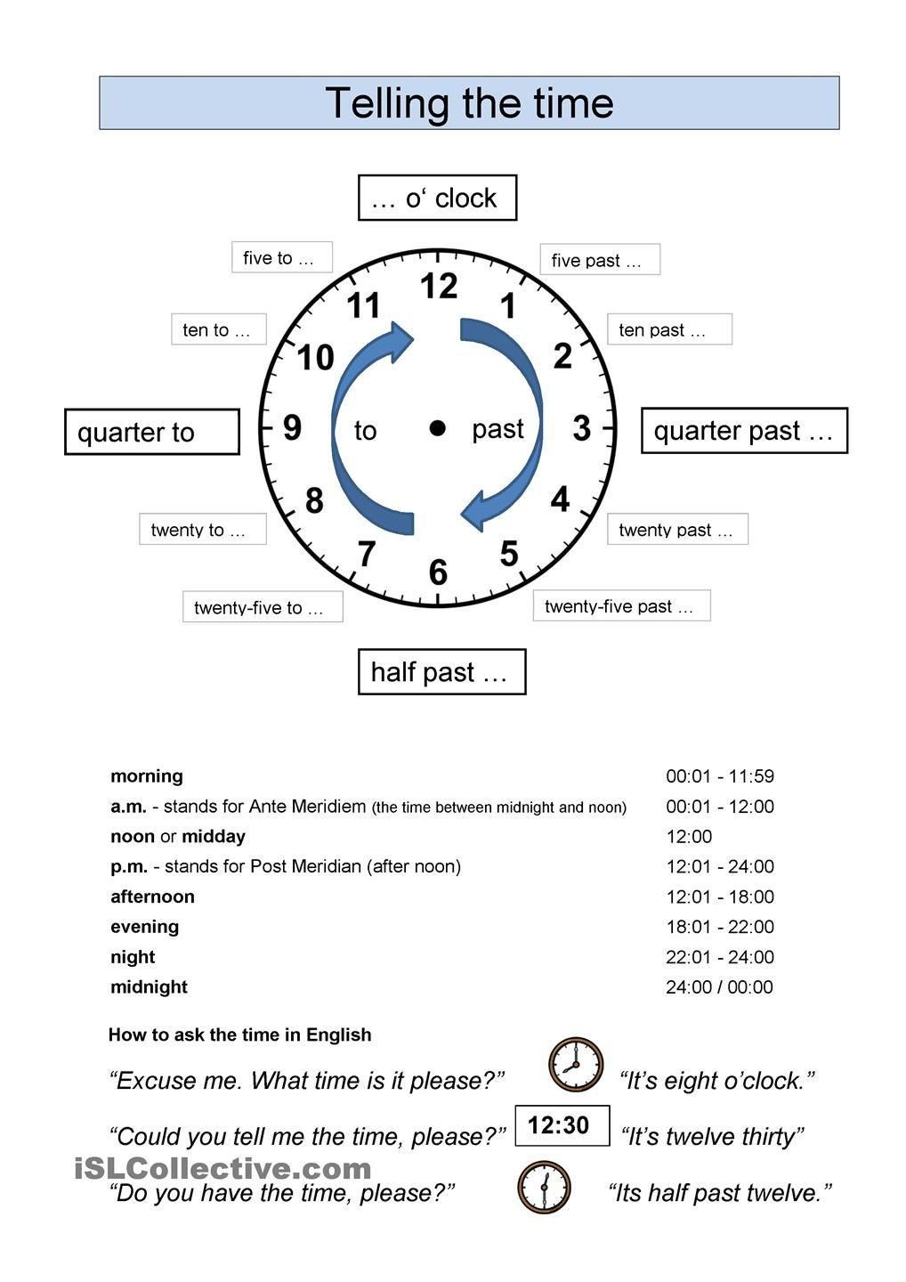 telling the time | English 4th grade | Pinterest | English ...