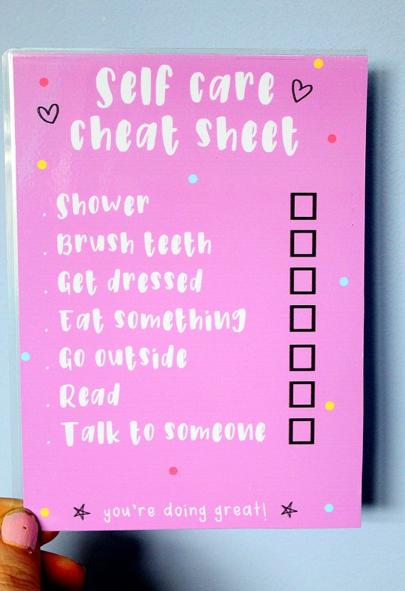 Self Care Cheat Sheet Daily Checklist Laminated to do list - daily checklist