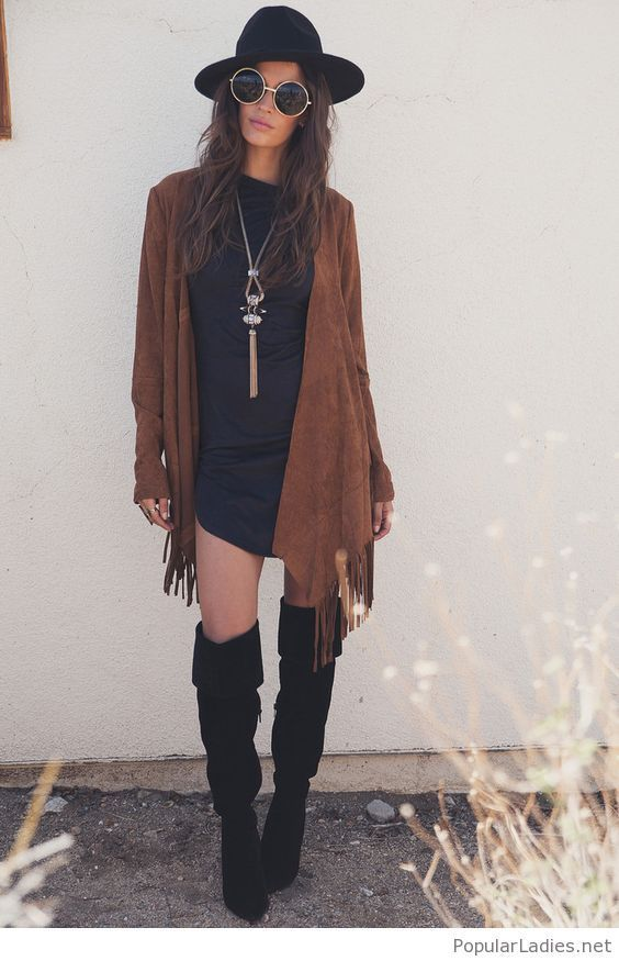 short-black-dress-brown-cardigan-and-amazing-accessories 17