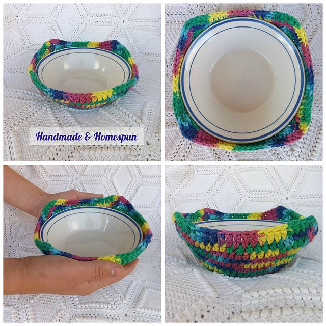 Microwave Bowl Cozy pattern by Handmade & Homespun | Para el hogar ...