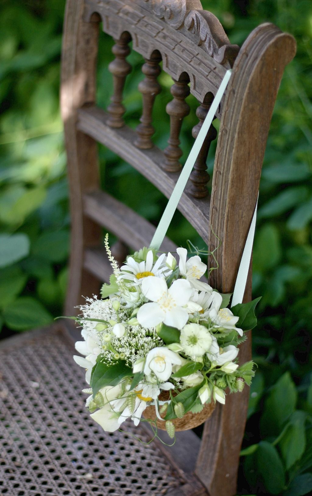 flower girl ideas. Basket with ribbon handle filled with seasonal ...