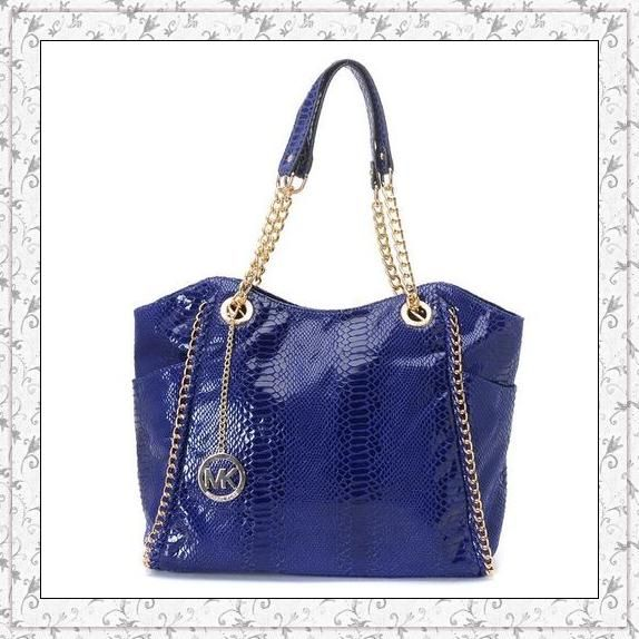 MICHAEL Michael Kors Chelsea Large Shoulder Tote Python-embossed Blue only  $72