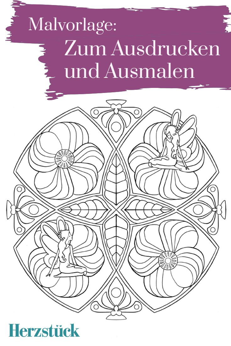 Zeit für Feen: Malvorlage aus dem Herzstück-Malbuch \