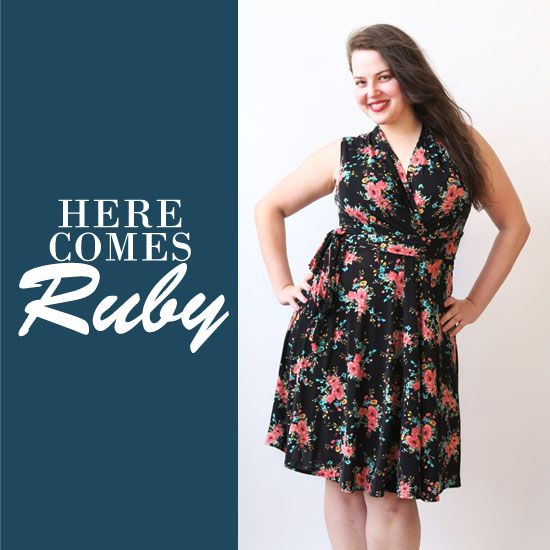 this short sleeve dress is a faux wrap dress. the ruby features a full, knee length skirt. machine wash cool, hang dry, no ironing ever needed! the ruby is an american made dress crafted with love in Brooklyn, NY.