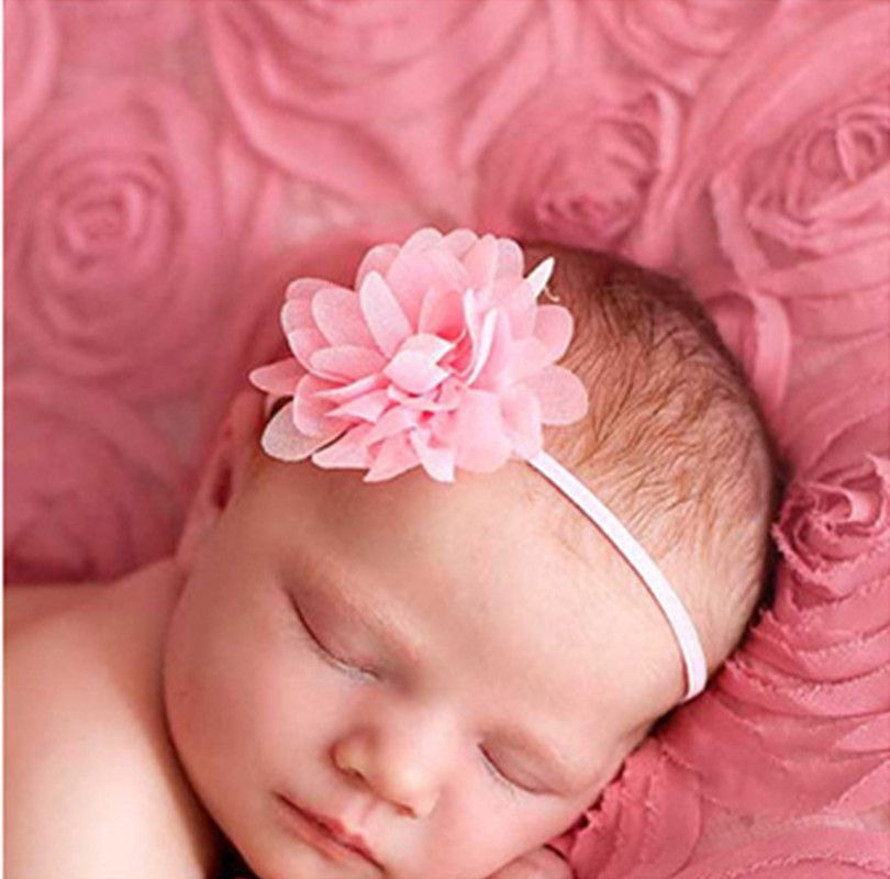 1 teile los 14clr mode kinder infant kinder neugeborene baby mädchen zubehör chiffon mini blume