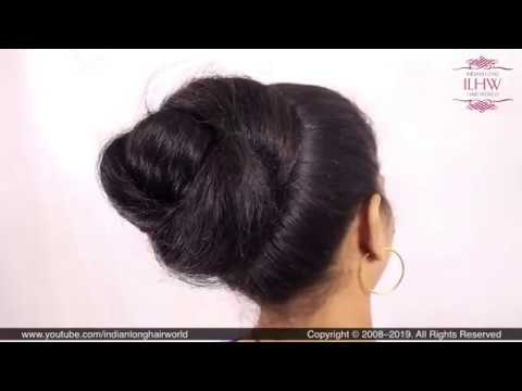 Pin By Pradeep Ray On Big Bun Hair In 2020 Bun Hairstyles For Long Hair Long Hair Video Thick Hair Styles