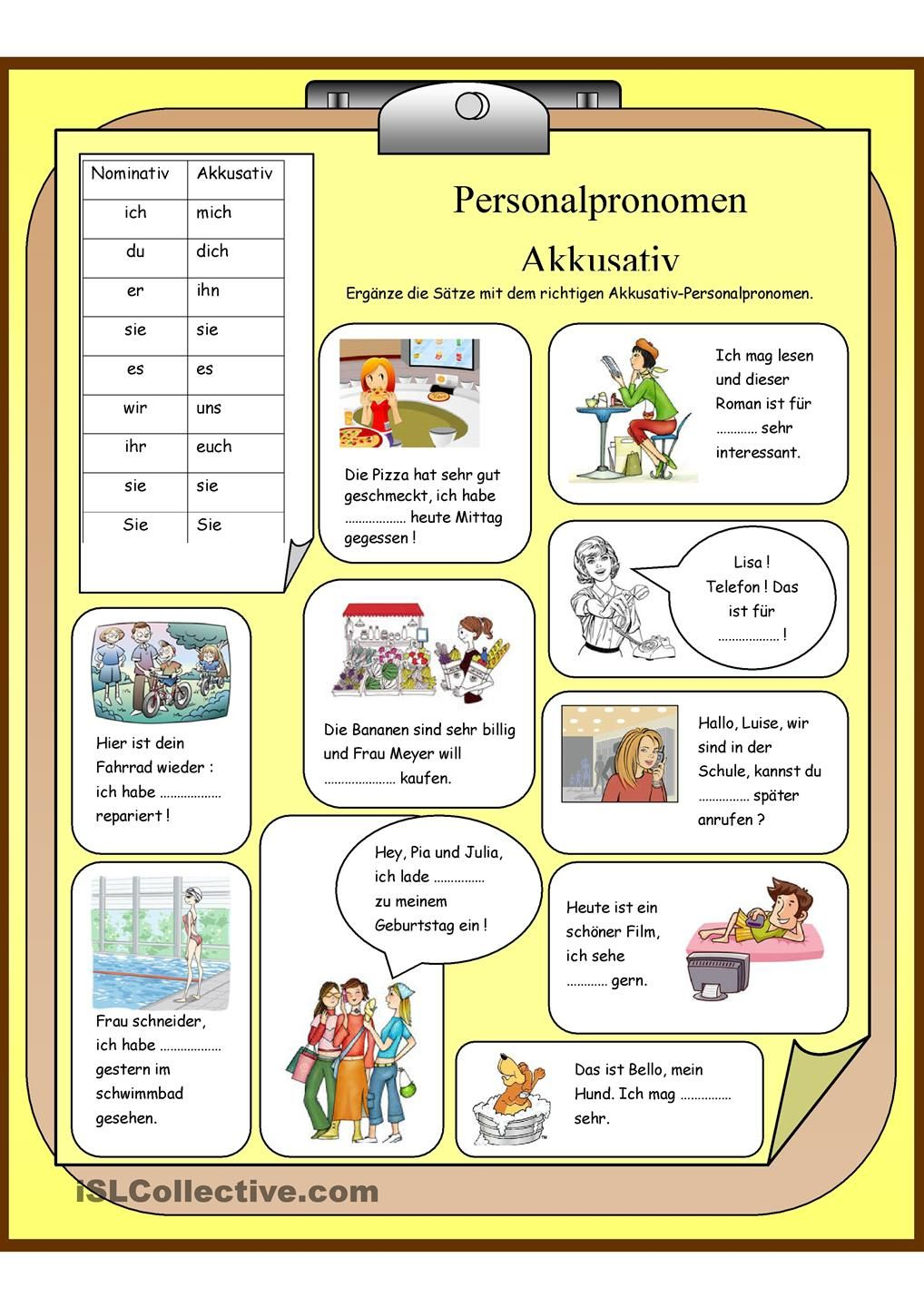 Personalpronomen - Akkusativ | Pronomen in 2018 | Pinterest ...