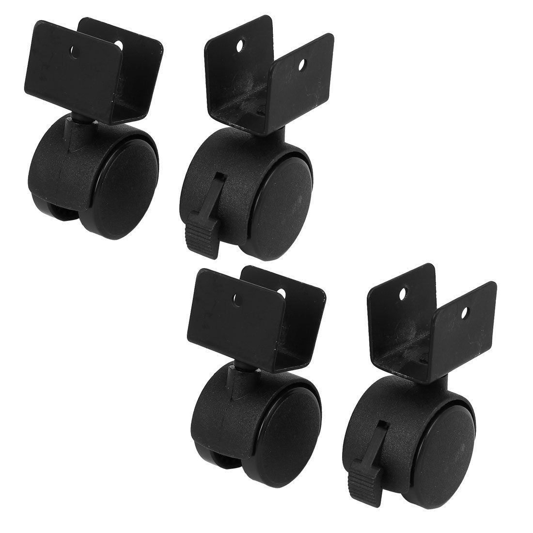 Uxcell A16093000ux0561 1 5 Inch Diameter Wheel U Clamp Top Rotatable Universal Swivel Brake Caster Black 4pcs Pack O Bed Frame Wheels Caster Furniture Casters