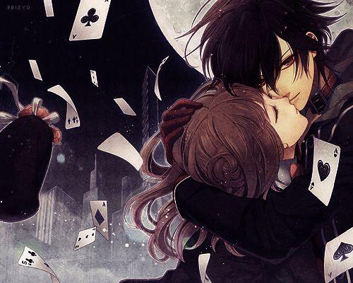 Anime couple with cards anime couples pinterest - Dark anime couples ...