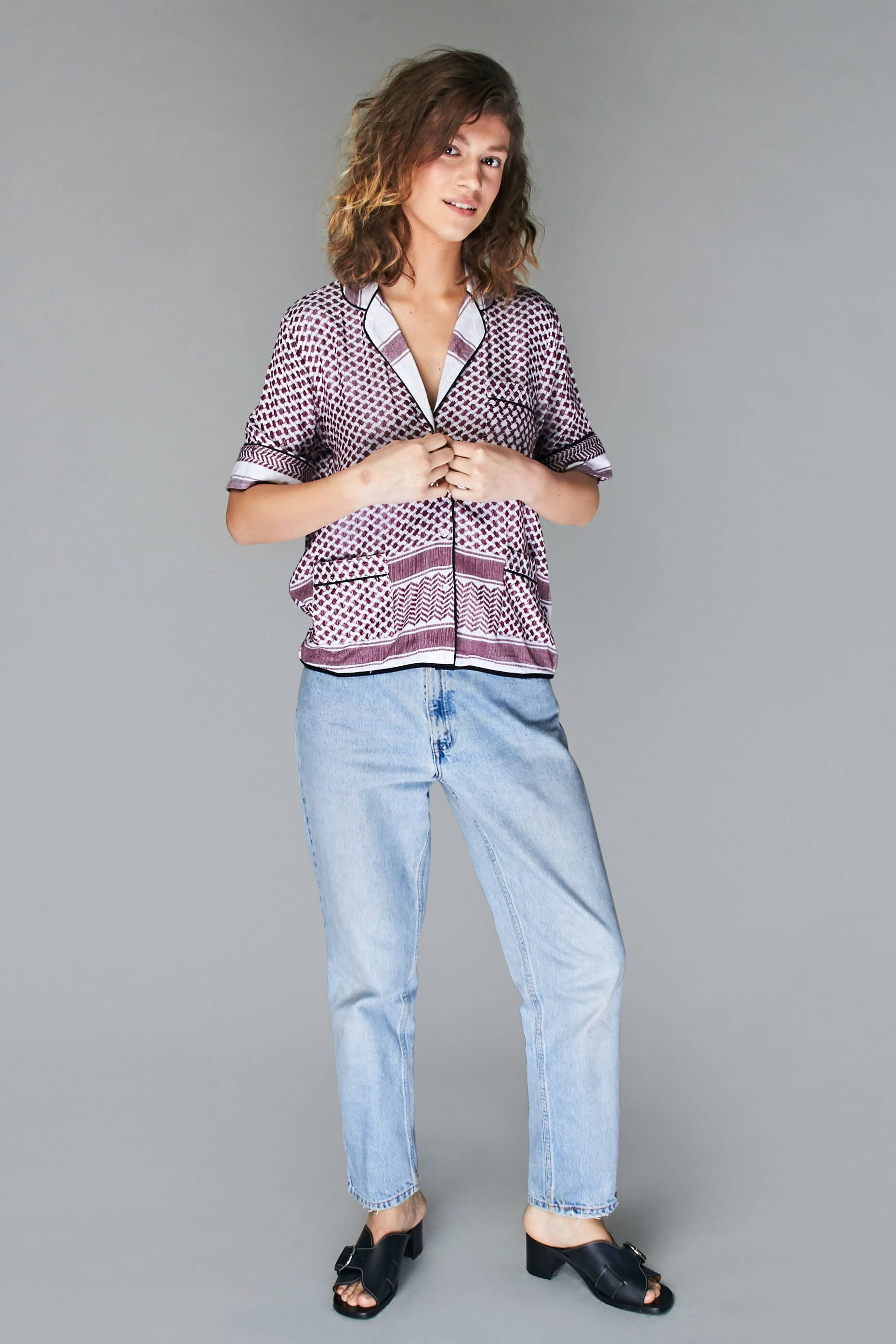 Cecilie Copenhagen -  Short Sleeve Shirt With Piping - 995kr