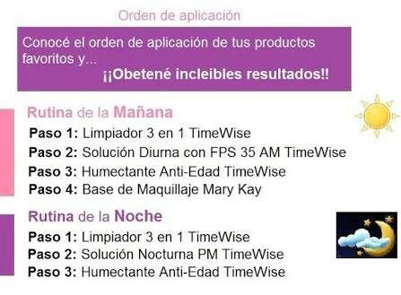 Orden De Aplicación De La Línea Time Wise Base De Maquillaje Rutina De La Mañana Mary Kay