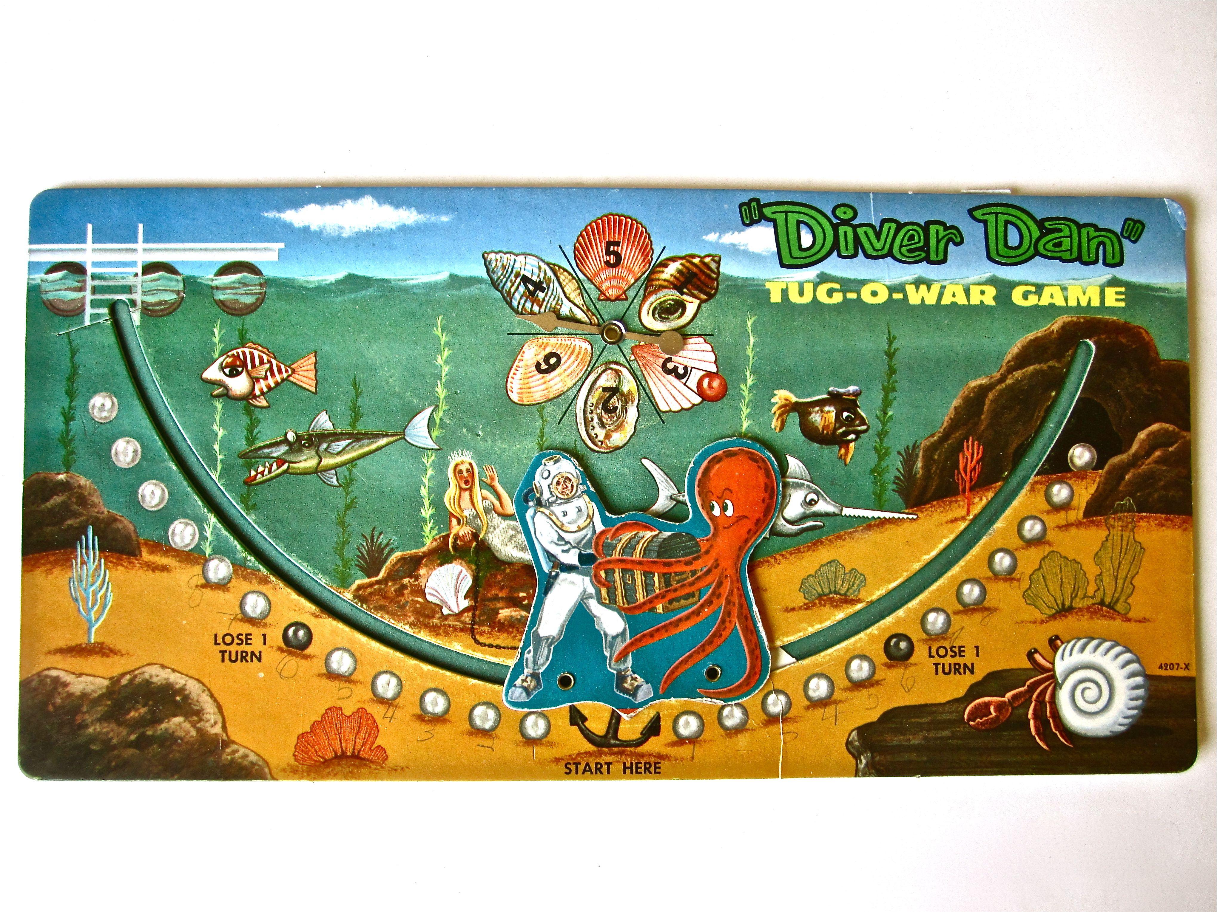 """1961 """"Diver Dan"""" TughOWar Game Board. Diver dan, Board"""
