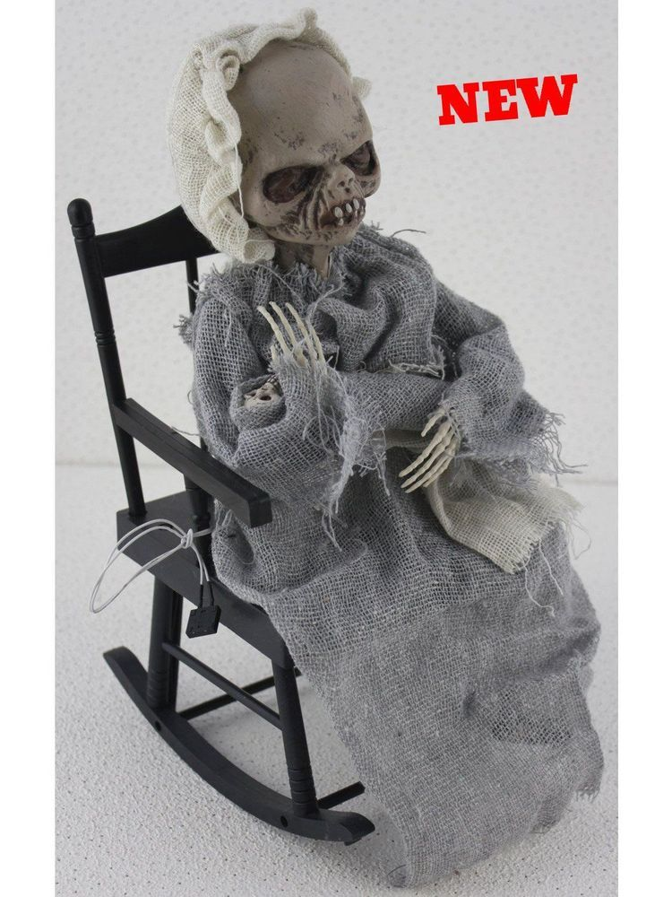Zombie Lady Baby Halloween Prop Animated Rocking Chair